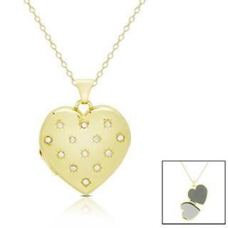 Finesque 14k Gold 1/10 ct TDW Diamond Heart Locket Necklace