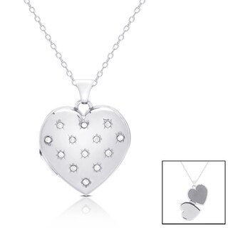 Finesque 14k White Gold 1/10 ct TDW Diamond Heart Locket Necklace