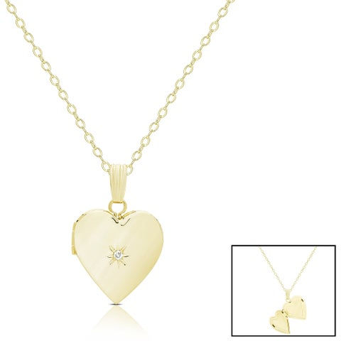 Finesque 14k Gold Diamond Accent Heart Locket Necklace