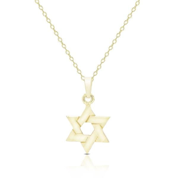 Dolce Giavonna 14K Gold Star of David Design Necklace Free