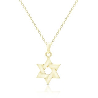 Dolce Giavonna 14K Gold Star of David Design Necklace