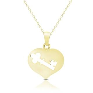 Dolce Giavonna 14K Gold Heart Key Design Necklace