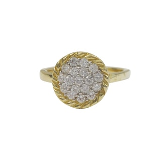 Luxiro Two-tone Sterling Silver Pave Cubic Zirconia Braided Right Hand Ring - Gold
