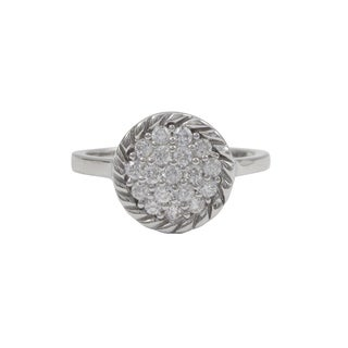 Luxiro Sterling Silver Pave Cubic Zirconia Braided Right Hand Ring