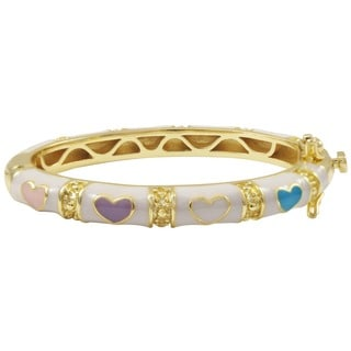 Luxiro Gold Finish Children's White and Multi Enamel Heart Bangle Bracelet