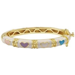 Luxiro Gold Finish Children's White and Multi Enamel Heart Bangle Bracelet (4 options available)