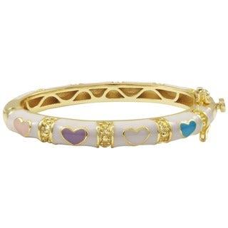 Luxiro Gold Finish Children's White and Multi Enamel Heart Bangle Bracelet