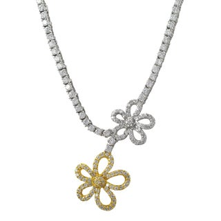 Luxiro Two-tone Sterling Silver Cubic Zirconia Flower Tennis Necklace