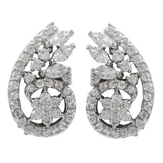 Luxiro Sterling Silver Cubic Zirconia Flower Spiral Clip-on Earrings