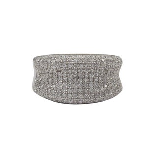 Luxiro Sterling Silver Micropave Cubic Zirconia Statement Ring