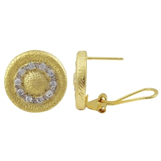 Luxiro Matte Gold Finish Pave Cubic Zirconia Medallion Earrings
