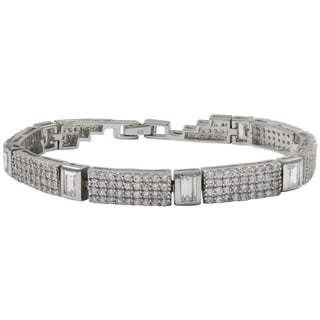 Luxiro Sterling Silver Pave Cubic Zirconia Squares Tennis Bracelet