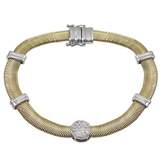 Luxiro Two-tone Gold Finish Pave Cubic Zirconia Snake Chain Bracelet