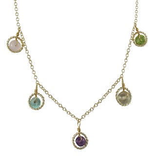 Luxiro Gold Finish Multi-color Beads Floating Circle Station Necklace - Blue