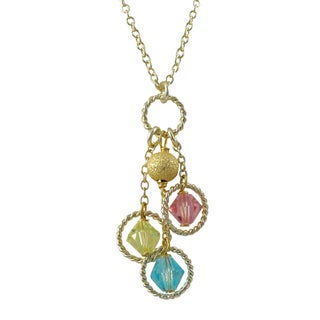 Luxiro Gold Finish Multi-color Beads Floating Circle Pendant Necklace