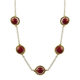 Luxiro Gold Finish Red Beads Floating Circle Station Necklace
