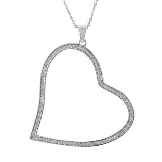 Rose Gold Finish Sterling Silver Micropave Cubic Zirconia Open Heart Pendant Necklace
