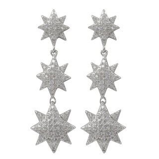 Luxiro Sterling Silver Micropave Cubic Zirconia Eight-point Star Dangle Earrings