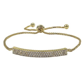 Luxiro Gold Finish Sterling Silver Pave Cubic Zirconia Bar Adjustable Bracelet