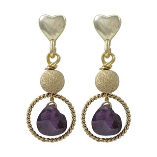 Luxiro Gold Finish Sterling Silver Cubic Zirconia Heart Dangle Earrings (4 options available)