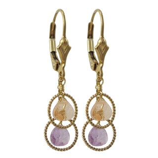 Gold Filled Sterling Silver Multi-color Cubic Zirconia Dangle Earrings