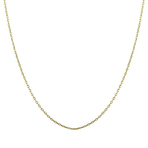 Luxiro Gold Finish Sterling Silver Necklace Chain 16-inch with 2-inch Extender