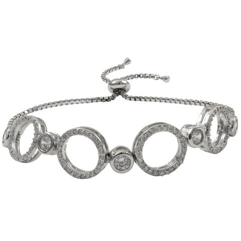Luxiro Tri-color Sterling Silver Pave Cubic Zirconia Circle Adjustable Bracelet