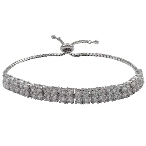 Luxiro Sterling Silver Cubic Zirconia Square Two-row Adjustable Bracelet
