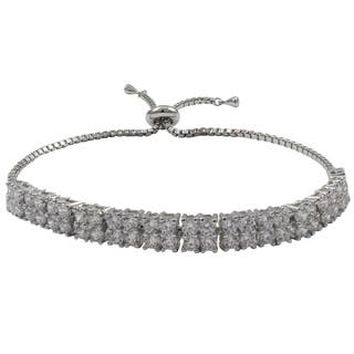 Luxiro Sterling Silver Cubic Zirconia Square Two-row Adjustable Bracelet|https://ak1.ostkcdn.com/images/products/11020692/P18036901.jpg?impolicy=medium