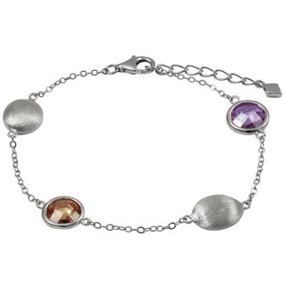 Luxiro Brushed Rhodium Finish Multi-color Cubic Zirconia Coin Bracelet