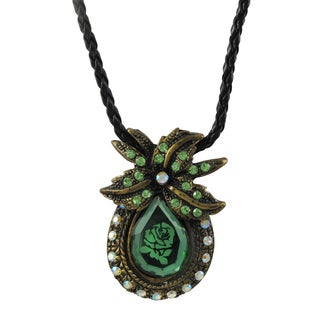 Luxiro Antique Gold Finish Green Glass and Crystal Rose Pendant Necklace