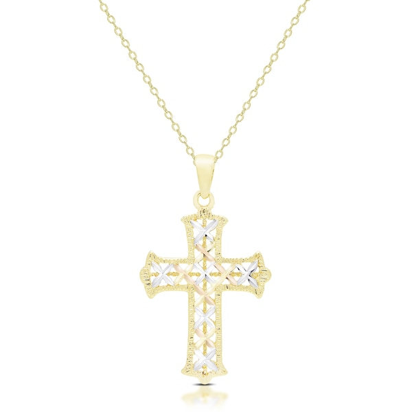 Dolce Giavonna 14K Gold Cross Necklace Free Shipping Today