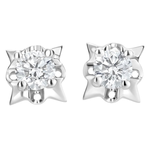 814c82e60 SummerRose 14k White Gold 1/2ct TDW Diamond Starburst Stud Earrings