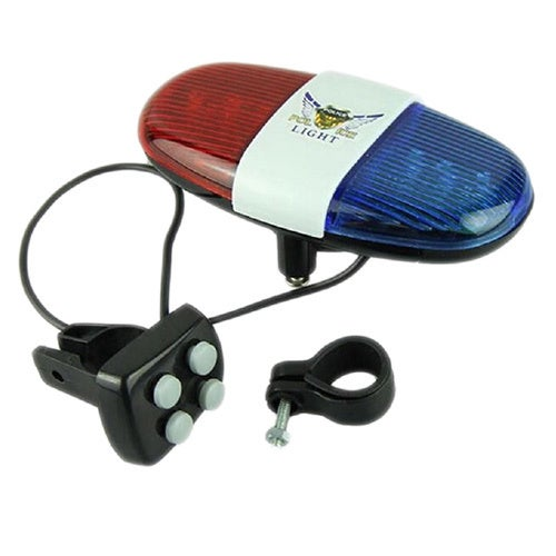 Police Car Bike Bell and Light with 6 LED Lights and 4 Sounds