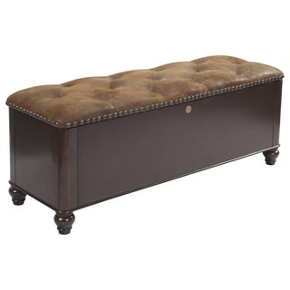 Wood Gun Concealment Bench with Nailhead Trim and Cushioned Seat