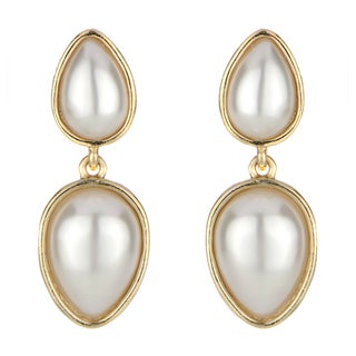 Goldtone Cultured Pearl Teardrop Earrings
