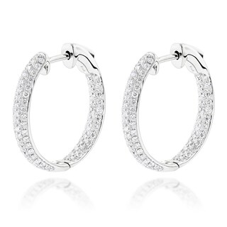 Luxurman 14k White Gold 1 1/6ct TDW Diamond Small Inside Out Hoop Earrings|https://ak1.ostkcdn.com/images/products/11020775/P18036949.jpg?_ostk_perf_=percv&impolicy=medium