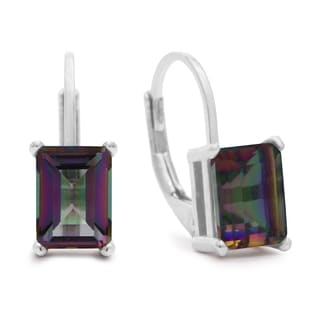 2 TGW Emerald Shape Mystic Topaz Earrings In Sterling Silver