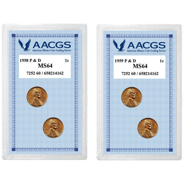 American Coin Treasures 1958 Lincoln Wheat Pennies P&D Graded MS64 + 1959 Lincoln Memorial Pennies P