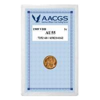 American Coin Treasures 1909 VDB Penny Graded AU55