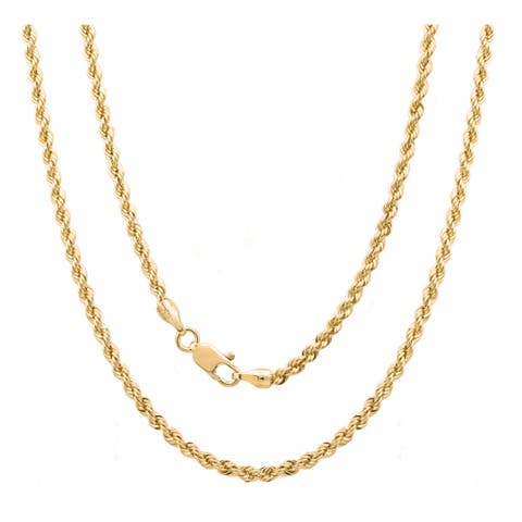 Sterling Essentials Italian Silver with 14k Gold Plate 3 mm Laser Rope Chain (16-30 Inch ) - Yellow