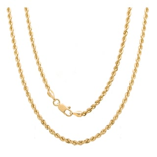 Sterling Essentials Italian Silver with 14k Gold Plate 3 mm Laser Rope Chain (16-30 Inch )