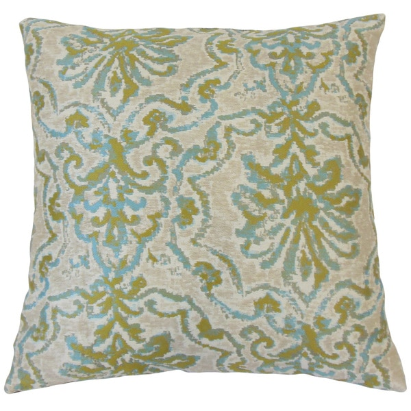 Uheri Damask Feather and Down Filled 18-inch Throw Pillow