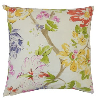 Feivel Floral Feather and Down Filled Pink 18-inch Throw Pillow
