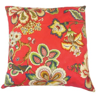 Ghislaine Floral Feather and Down Filled 18-inch Throw Pillow