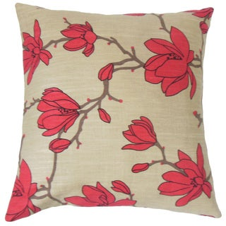 Zakiya Floral Feather and Down Filled 18-inch Throw Pillow