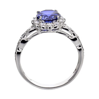 Sterling Silver Round Created Blue Sapphire and Cubic Zirconia Halo Ring (China)