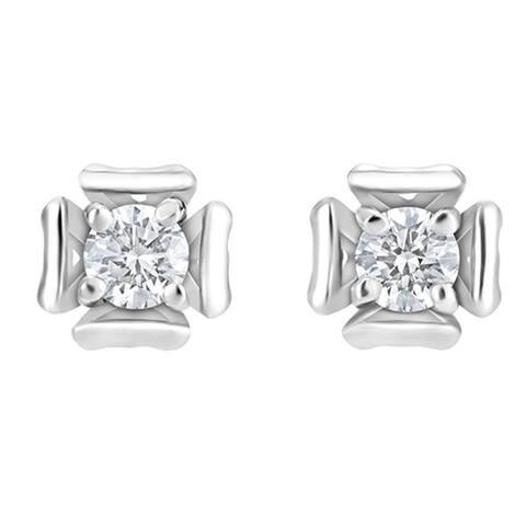 SummerRose 14k White Gold 1/4ct TDW Flower Diamond Stud Earrings - White H-I