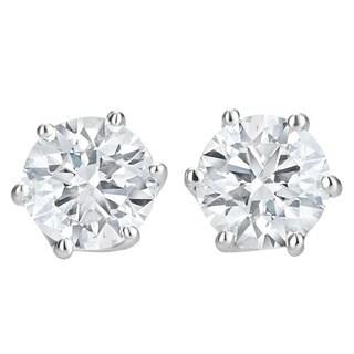 SummerRose 14k White Gold 1ct TDW Diamond Hexagon Stud Earrings
