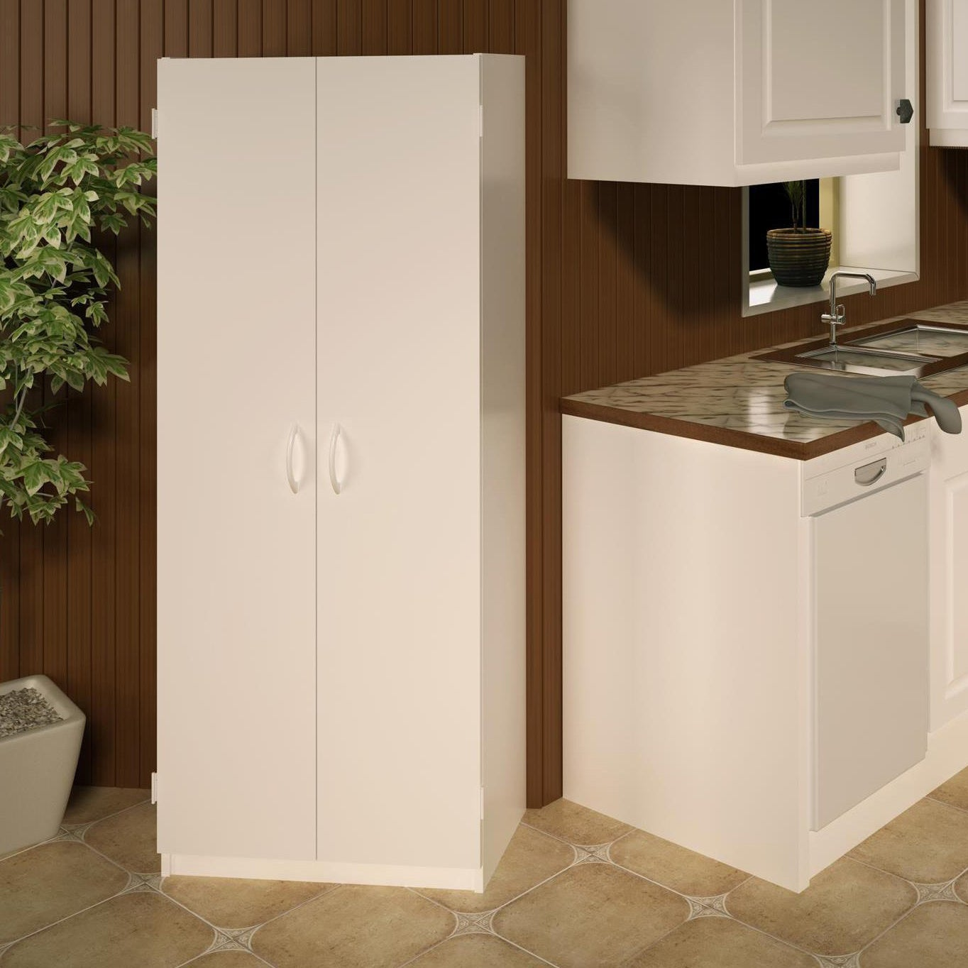 Ameriwood Home Flynn White Wood 24 Inch Double Door Kitchen Pantry Cabinet